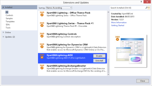 AIDE in VS2012 Extensions and Updates