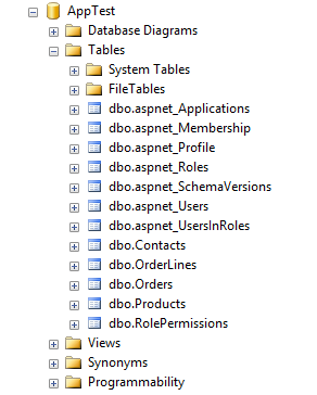 AppTest Deployed Database in SQL Server