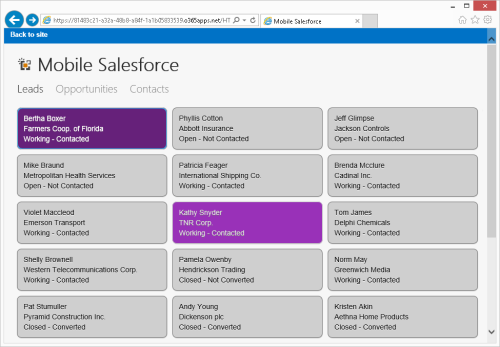 LightSwitch Mobile Salesforce app in Office 365