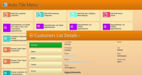 Auto-Tile Menu Screen in Orange Pastel theme