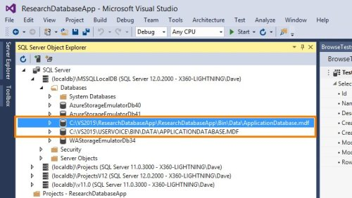 LightSwitch LocalDB use in Visual Studio 2015